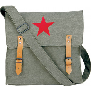 Olive Drab Vintage Red Star Canvas Shoulder Bag