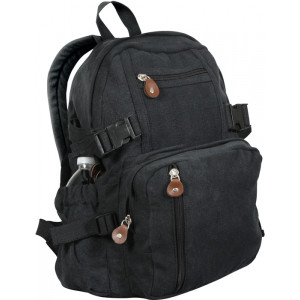 Black Vintage Military Canvas Mini Backpack