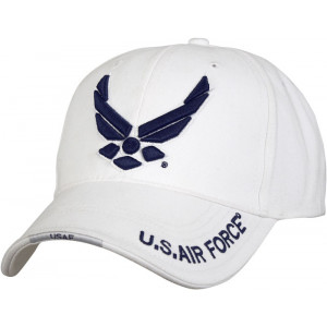 White Military US Air Force New Wing Deluxe Low Profile Adjustable Cap