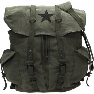 Olive Drab Vintage Military Washed Black Star Canvas Front Strap Backpack