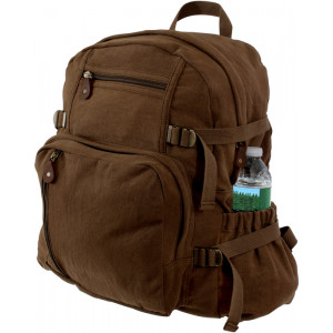 Brown Vintage Military Canvas Jumbo Backpack
