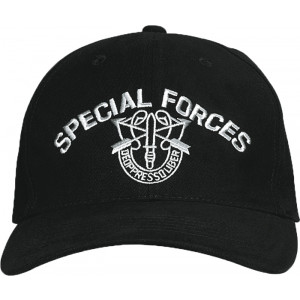 Black Military Special Forces Low Profile Adjustable Cap