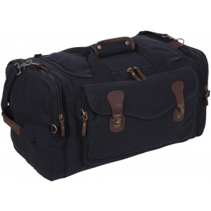 Black Extended Stay Canvas Weekend Travel Shoulder Duffle Bag