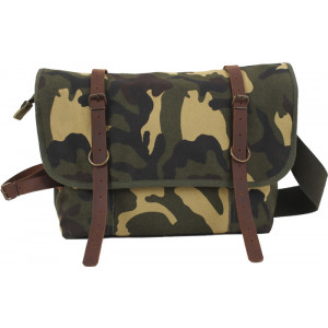 Woodland Camouflage Military Canvas Messenger Shoulder Bag With Leather Accents