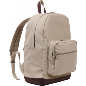 Khaki Military Canvas Tactical Teardrop Backpack With Brown Leather Accents