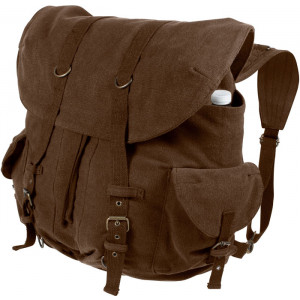 Earth Brown Vintage Military Canvas Front Strap Backpack