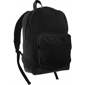 Black Military Canvas Tactical Teardrop Backpack With Black Leather Accents