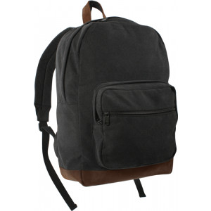 Black Military Canvas Tactical Teardrop Backpack With Leather Accents