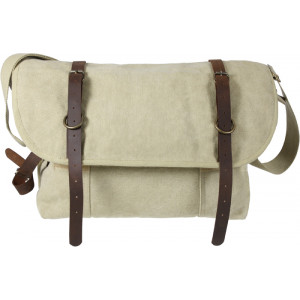 Khaki Vintage Military Canvas Messenger Shoulder Bag With Leather Accents