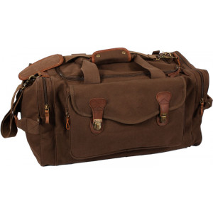 Brown Extended Stay Canvas Weekend Travel Shoulder Bag