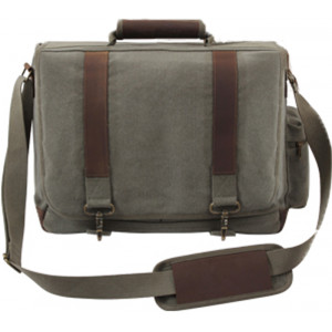 Olive Drab Vintage Military Canvas Laptop Shoulder Bag With Leather Accents