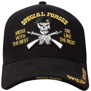 Black Deluxe Special Forces Green Beret Low Profile Adjustable Cap
