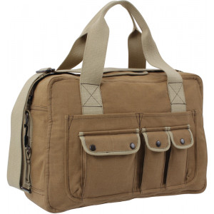 Khaki & Mocha Military Canvas Outback Messenger Shoulder Bag