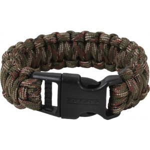 Woodland Camouflage Deluxe Survival Paracord Cobra Bracelet w/ Buckle