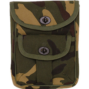 Woodland Camouflage Canvas 2-Pocket Military Ammo Pouch