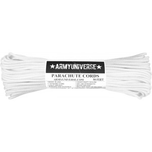 White 550LB Type III Nylon Paracord Rope 50 Feet