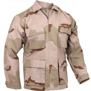 Tri-Color Desert Camouflage Rip-Stop Military BDU Fatigue Shirt