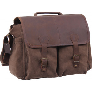 Brown Vintage Military Messenger Bag w/ Leather Accents