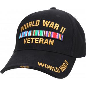 Black Military World War II Veteran Deluxe Low Profile Adjustable Cap