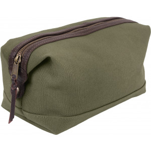 Olive Drab Canvas & Leather Travel Toiletry Hygiene Kit Dopp Bag