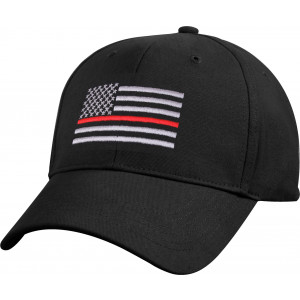 Black Thin Red Line American Flag Adjustable Support The Firefighters Low Profile Cap