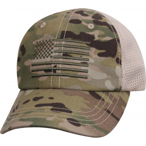 MultiCam Adjustable Subdued US Flag Mesh Back Operator Cap