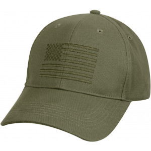 Olive Drab Deluxe Subdued American Flag Low Profile Baseball Cap