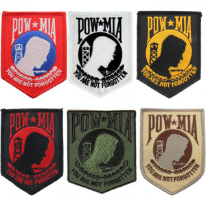 "Prisoner Of War Missing In Action ""You Are Not Forgotten"" POW MIA Iron-On Morale Shield Patch"
