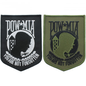 """Prisoner Of War Missing In Action """"You Are Not Forgotten"""" POW MIA Iron-On Morale Shield Patch 4.5"""""""