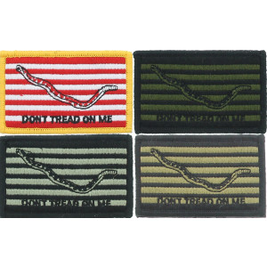 "Don't Tread On Me Rattlesnake Navy Jack Flag Hook & Loop Morale Patch 3"" x 2"""