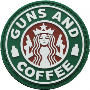 Starbucks Akimbo Logo Guns & Coffee Morale PVC Patch 2.25""