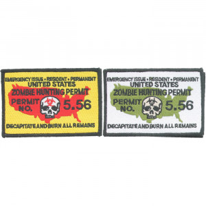"""Zombie Hunting Permit No. 5.56 Hook Morale Patch 4.5"""" x 3"""""""