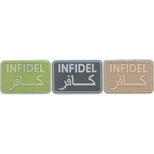 "Infidel PVC Arabic Hook & Loop Morale Patch 3"" x 2"""
