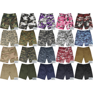 Camouflage Tactical 6 Pocket Cargo BDU Shorts w/ ARMYUNIVERSE® Pin
