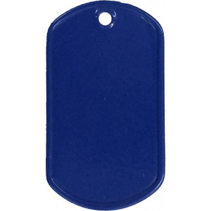 Blue Stainless Steel ID Tag Military Style Dog Tag