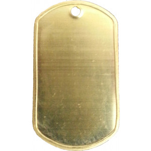 Solid Brass ID Tag Military Style Dog Tag