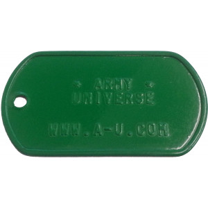 Green Custom Embossed Stainless Steel ID Tag Military Style Dog Tag