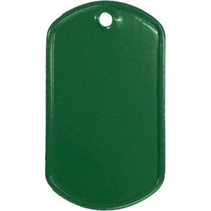Green Stainless Steel ID Tag Military Style Dog Tag