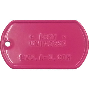 Hot Pink Custom Embossed Stainless Steel ID Tag Military Style Dog Tag