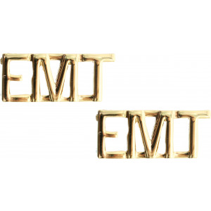 Polished Gold Emergency Medical Technician EMT Insignia Pin Set 3/8""