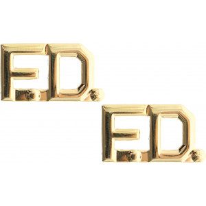 """Polished Gold Firefighter Fire Department FD Insignia Pin Set 3/8"""""""