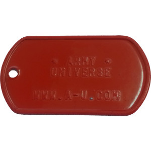 Red Custom Embossed Stainless Steel ID Tag Military Style Dog Tag
