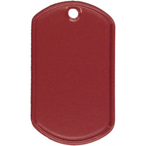 Red Stainless Steel ID Tag Military Style Dog Tag