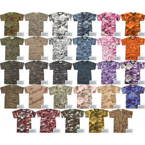 Camouflage Military Crewneck Short Sleeve T Shirt w/ ArmyUniverse® Pin
