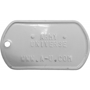 White Custom Embossed Stainless Steel ID Tag Military Style Dog Tag