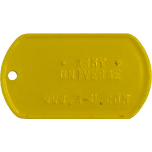 Yellow Custom Embossed Stainless Steel ID Tag Military Style Dog Tag