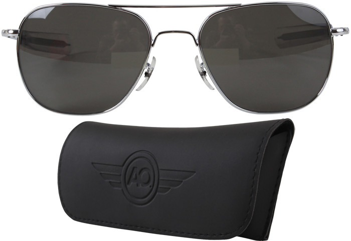 AO Eyewear Silver 55mm Genuine Air Force Pilots Sunglasses with Case 91891632232