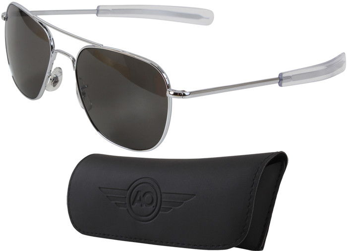 AO Eyewear Silver 55mm Genuine Air Force Pilots Sunglasses with ... c94c3931b31