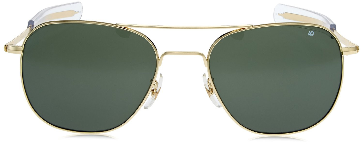 AO Eyewear Gold 55mm Genuine Air Force Pilots Green Lenses Sunglasses with  Case 9ef072ab009
