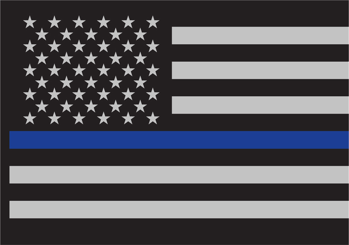 Thin Blue Line Flag Decal 3